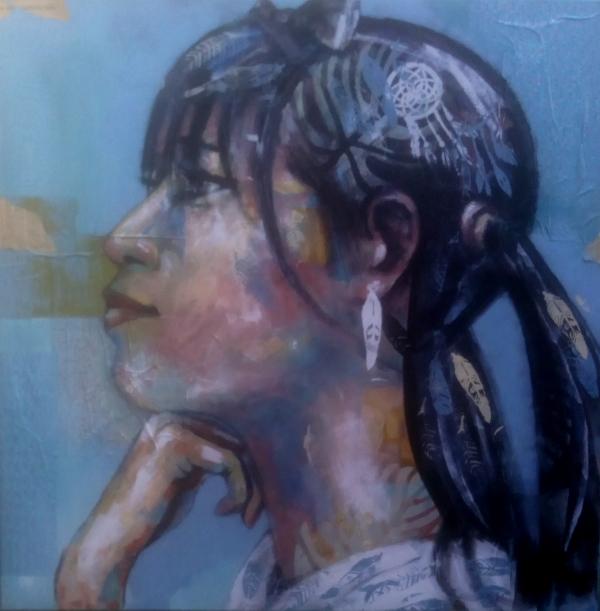 femme japonaise fond bleu (collages papiers)